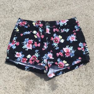 Black Pink Floral Shortie Shorts